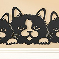 Black Metal Precious Cats Wall Home Decor Art