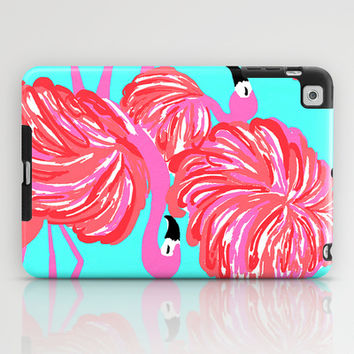 pink flamingo (Lilly Pulitzer style) iPad Case by uramarinka