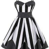 Atomic Black Striped and Dotted Swing Dress