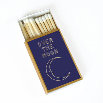 Over the Moon Matchbox - Starry Night Decor - Unique Gift - Wedding Matchboxes - Sweet Expressions - Light a Spark