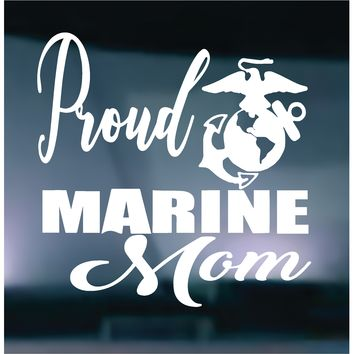 Proud Marine Mom Vinyl Graphic Decal