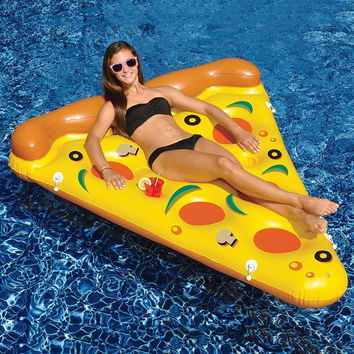 180*150CM Swimming Pool Water Toy Giant Yellow Inflatable Pizza Slice Floating Bed Raft Swimming Ring Air Mattress