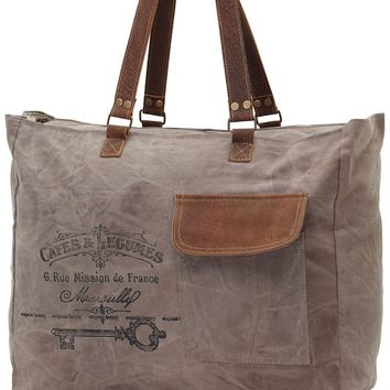Myra Bag Cafe & Legumes Up-cycled Canvas Weekender S-0772
