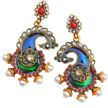 Indian Traditional Ethnic Bollywood Jewelry - Maayra Blue Green Indian Wedding Festival Drop Earrings [MJE11]