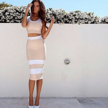 White Colorblock 2 Piece Overknee Bandage Dress