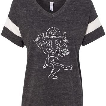 Womens Yoga T-shirt Sketch Ganesha White Print Eco-Friendly V-neck