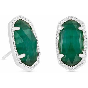 Kendra Scott: Ellie Silver Stud Earrings In Emerald Cats Eye