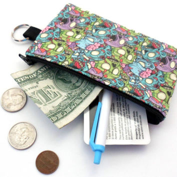Zombie Coin Purse, Small Zipper Pouch, Padded Card Holder