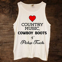 Country Music, Cowboy Boots & Pickup Trucks Tank