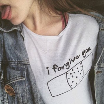 I forgive you Print T-Shirts for Women Cosy Cotton Top +Free Gift -Random Necklace-96