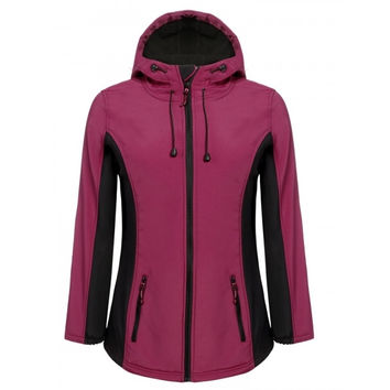 Women Long Sleeve Contrast Color Full Zip Fleece Lined Hooded Sport Jacket