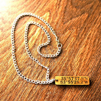 Coordinates OAK WOOD Pendant with chain Custom Engraved GPS Pendant Personalized Latitude and Longitude One-of-a-kind Fathers Day Gift