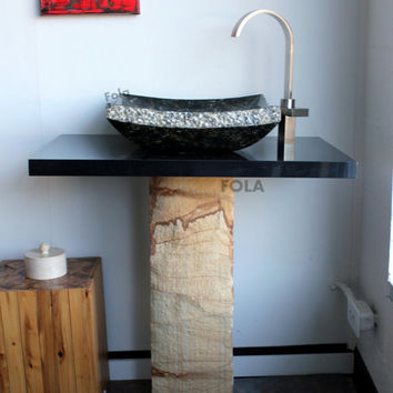 "30"" Stone Vanity Set Hand Made Green Butterfly Granite Vessel Sink & Natural pedestal and Black Granite Countertop SET"