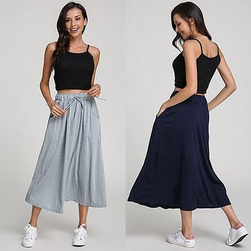 Women Long Skirt 2017 New Autumn Spring Ladies Elastic High Waist Pockets Loose Pleated Mid-calf Skirts Solid Casual Faldas Saia