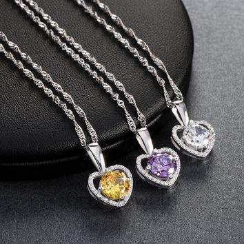 Romantic Love Heart Pendant Necklace with 2 ct Heart and Arrow Cut AAA Grade Zircon Best Jewelry Gift for Ladies ON96