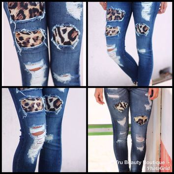 Distressed Leopard Patch Jeans