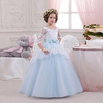 Sweet Tulle Light Blue Ball Gown Lace Appliques Flower Girls Dresses with 3/4 Sleeves Pretty Girls Pageant Gowns for Wedding