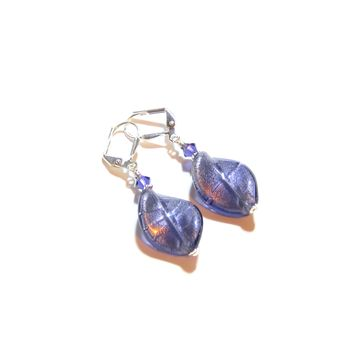 Murano Glass Plum Twist Sterling Silver Earrings