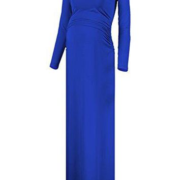 BlackCherry Womens Long Sleeve Retro Maternity Crew Neck Maxi Dress