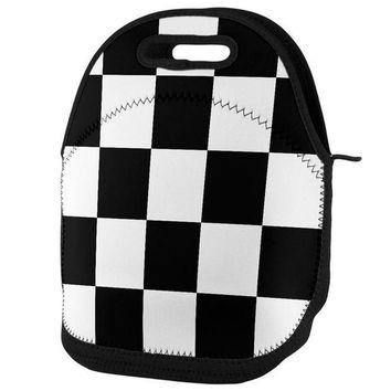 PEAPGQ9 Finish Line Checkered Flag Lunch Tote Bag