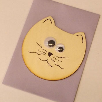 Wooden Cat Face Cards, Kids, Gift Idea, Birch Wood, Lasercut