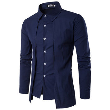 Fake Two Pieces Simple Style Casual Fashion Dress Shirts for Men