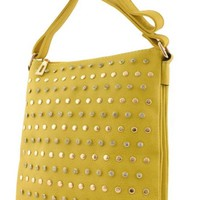 Yellow Rhinestone Studded Messenger Bag