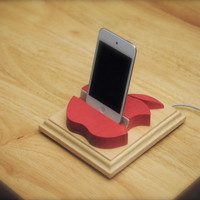 "The ""Pink Apple"" custom hand made wooden docking stand for iPhone, iPad mini and iPod touch or nano"