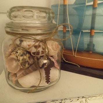 Shell collection in Vintage glass jar with Rusty KEY and puffy Heart ~ Beach cottage chic ~ Beach wedding decoration