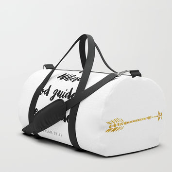 Isaiah 58:11 Christian Bible Verse Duffle Bag by Jake Rhodes