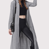 Gray Stand Collar Trench Coat