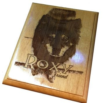 Laser-Etched Pet Memory Plaque on Wood
