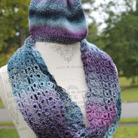Knit Hat with Broomstick Lace Cowl - Adult or Teen - Blues and Purple Tones - Lighter Weight Wool
