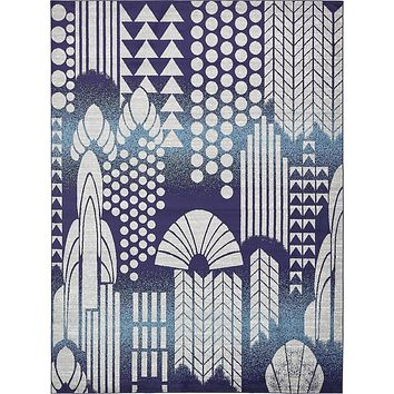 2055 Navy Blue Contemporary Area Rugs