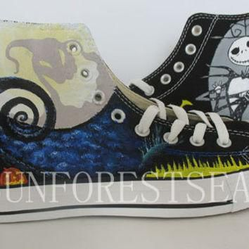 Converse Custom sneakers canvas shoes /The Nightmare Before Christmas hand painted/Hal