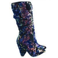 Immerse06 Iridescent Sequin Embellished Slouch Tapered Pointed Toe Dress Bootie