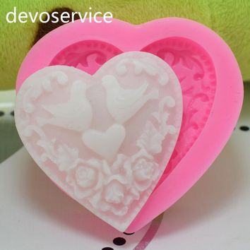2017 New Arrival Love Bird Heart Shape Cake Fondant Mould Wedding Cake Decorating Silicone Chocolate Soap Mould Baking Tool