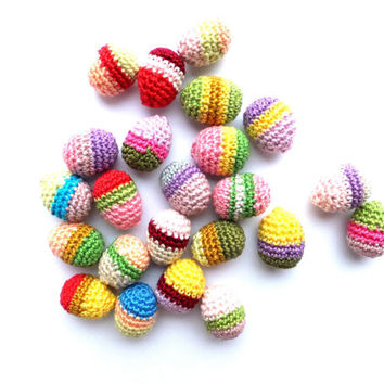 Crocheted Easter eggs ornaments, amigurumi, colorful spring decorations /set of 6/