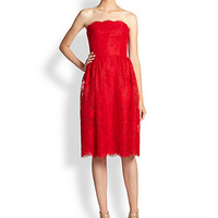 ML Monique Lhuillier - Strapless Chantilly Lace Ballerina Dress