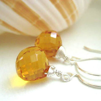 Bright as the Sun - AAA Golden Yellow Citrine Briolette and Sterling Silver Wire Wrapped Earrings
