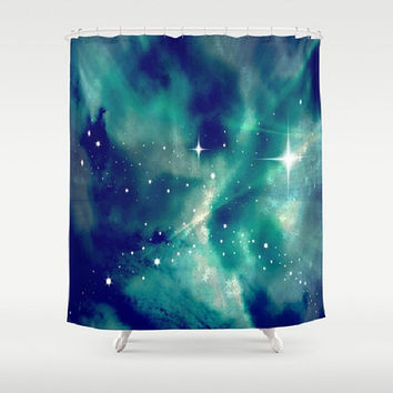 Blue, Sky, Night, Clouds, Stars, Supernova - Decorative Shower Curtain-Machine Washable - Decor, New Home or Apartment - Made To Order-SN#83