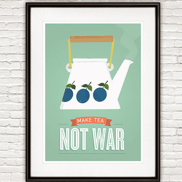 Art for kitchen, tea quote print, Kitchen poster, Kitchen print, Tea art, Kitchen wall art, Retro poster, Stig LIndberg, Mint Kitchen