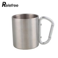Relefree 200ml Stainless Steel Mug with Foldable Self-lock Carabiner Handle Folding Handle Cup For Outdoor Camping Hiking