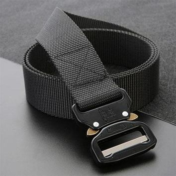 Men's canvas belt Metal insert buckle military nylon Training belt Army tactical belts for Men High quality male strap
