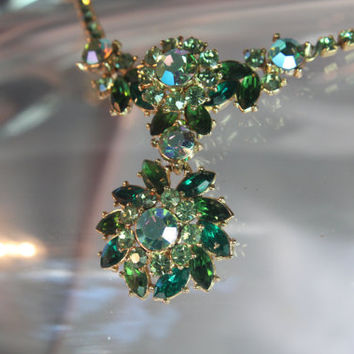 Vintage Emerald and Peridot Green Rhinestone Necklace and Earrings ,AB Crystals, Swarovski Crystals