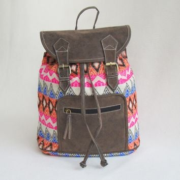 Jacquard and distressed look BACKPACK with Faux Leather