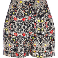 River Island Womens Navy abstract print high waisted shorts