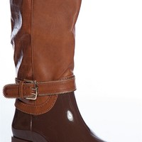 Forever Rainy Road Clara-20 Faux Alligator Two Tone Tall Rain Boots - Light Brown