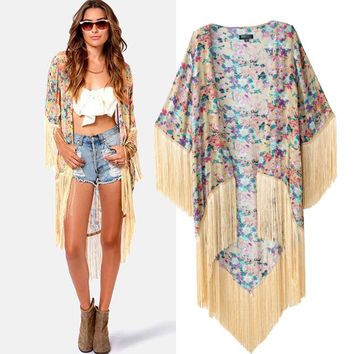 Women Summer Cotton Print Tassels Rashguard Cover Up [4976797188]