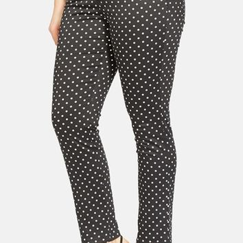 Plus Size Women's Lauren Ralph Lauren Polka Dot Skinny Ankle Pants,